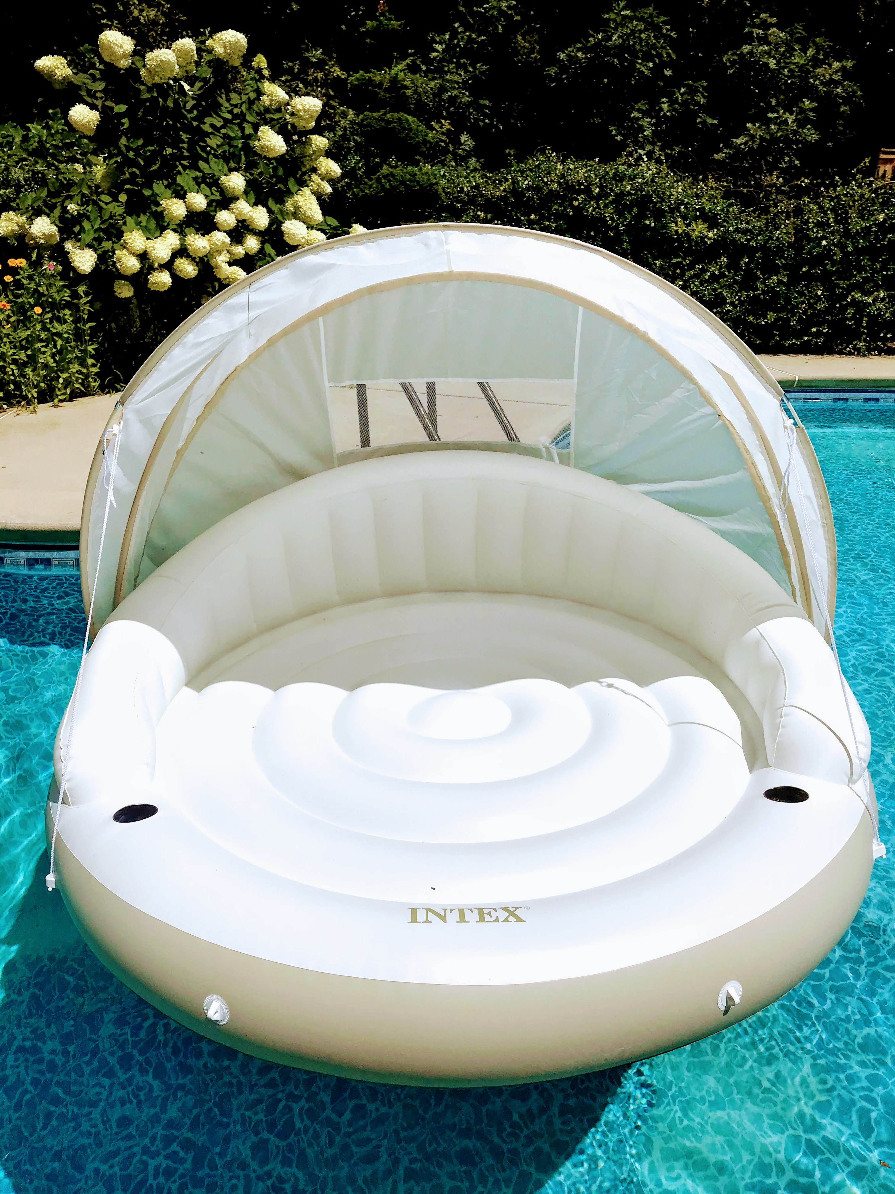 2 person pool float with a canopy