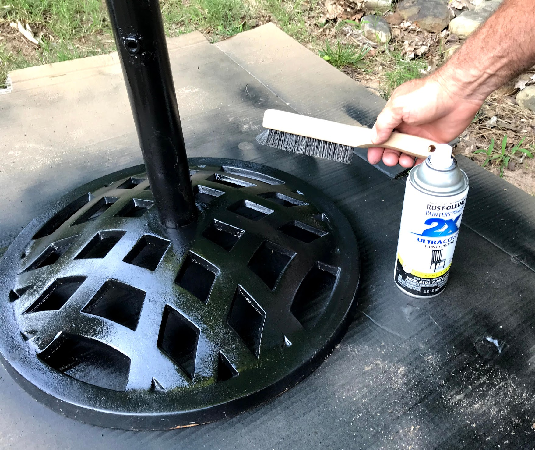 outdoor umbrella stand refurbished